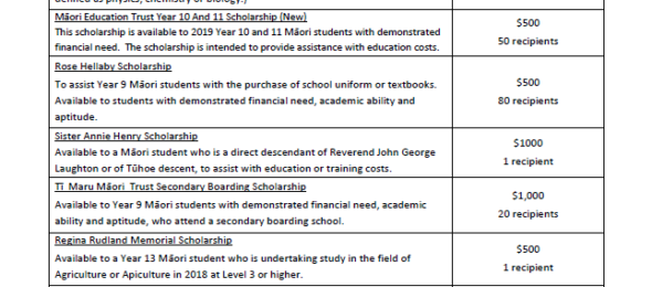 2019 Secondary Scholarships